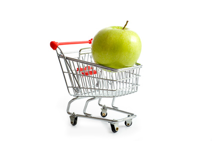 Apple in a shopping cart